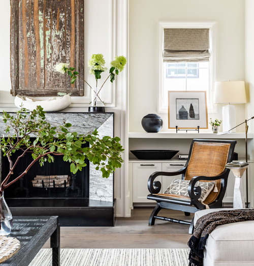 granite fireplace surround in chic living room