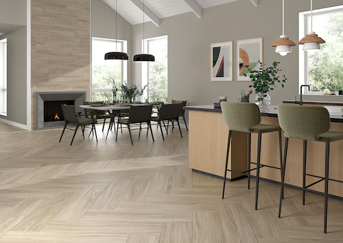 large dining room with bleached wood look tile flooring
