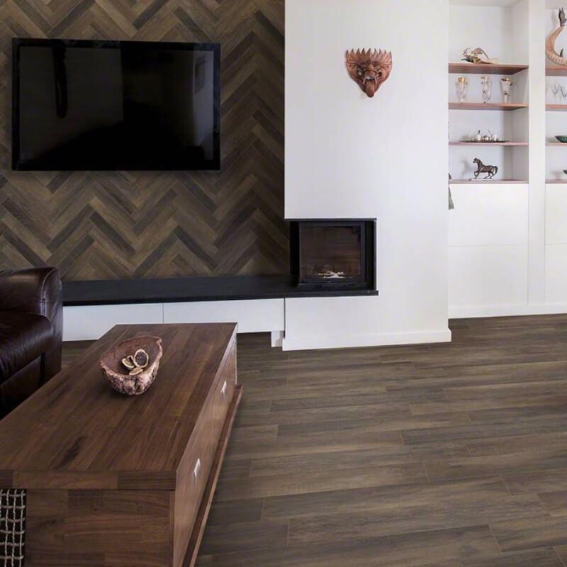 porcelain wood tile floor tile fireplace