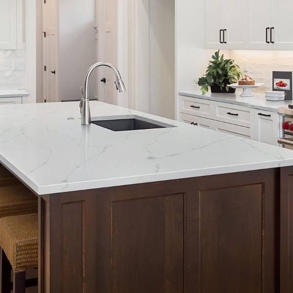 pristine white grey vein quartz kitchen