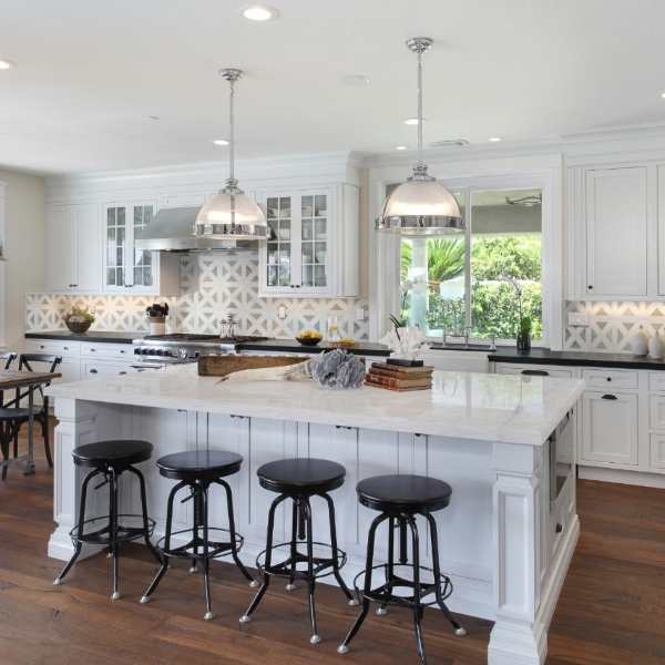 bright white marble kitchen counter and island