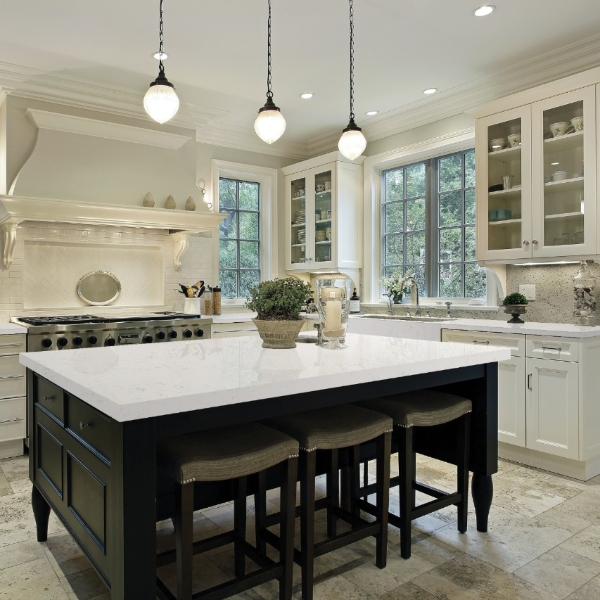 soft white marble look quartz kitchen counter with elegant cabinets