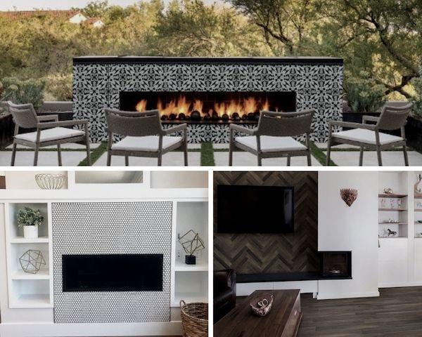 cozy fireplace surrounds featuring porcelain tile