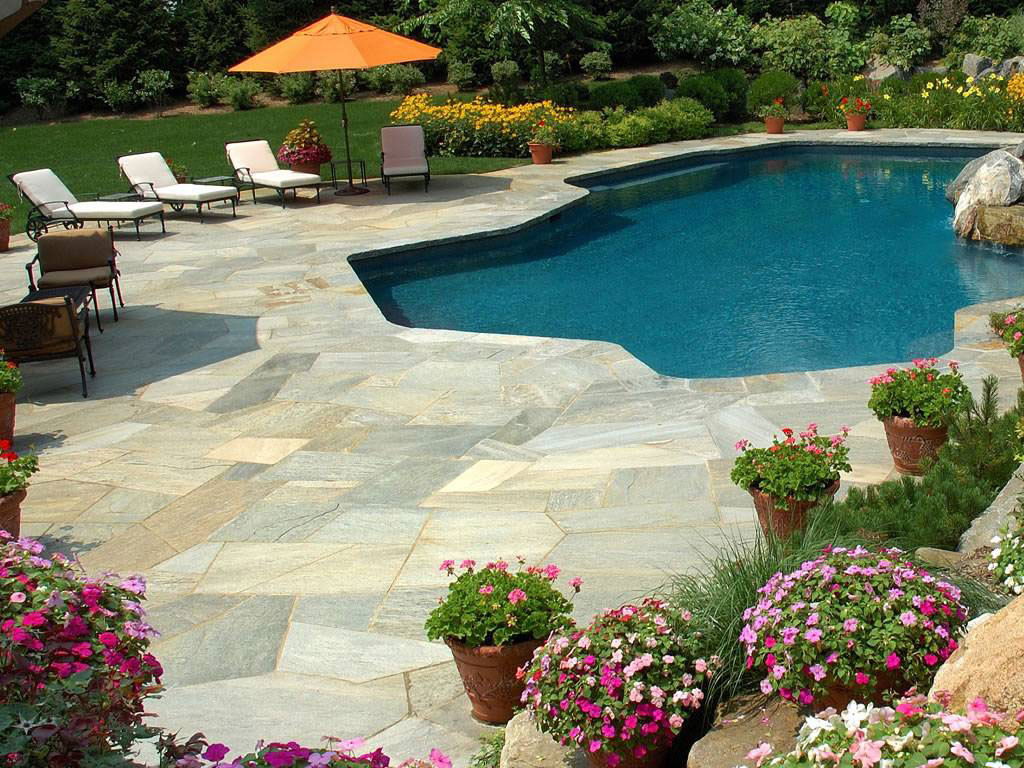 pool surround and walkway with natural stone