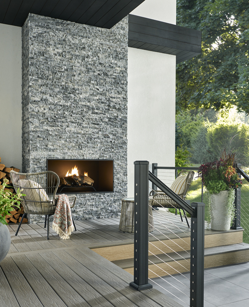blue gray ledger panel outdoor fireplace