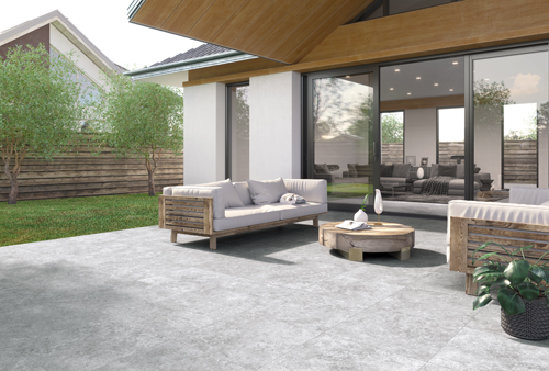 gray porcelain paved patio