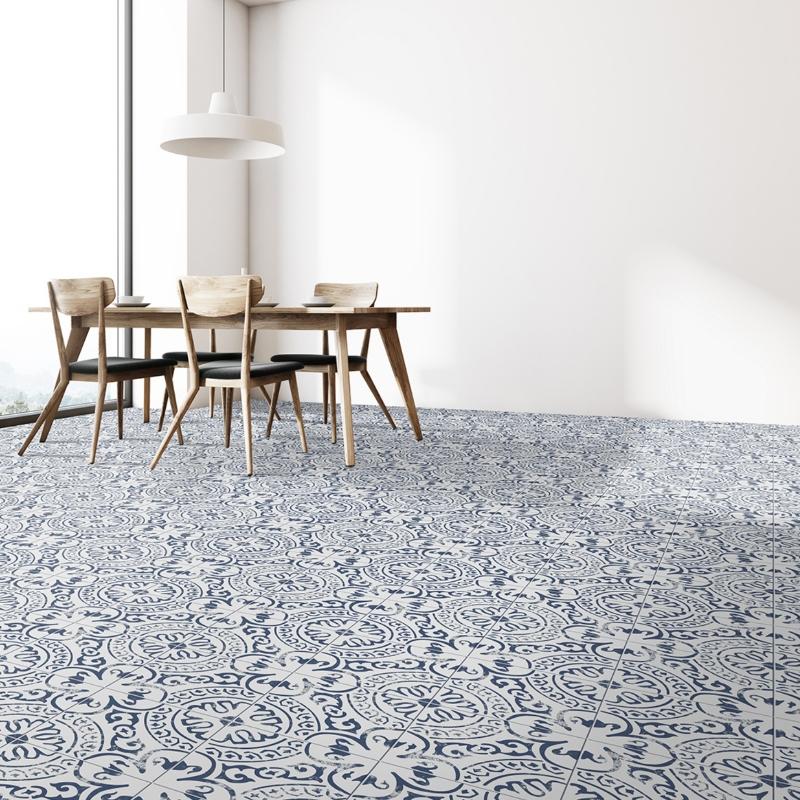 modern french design dining room with porcelain tile