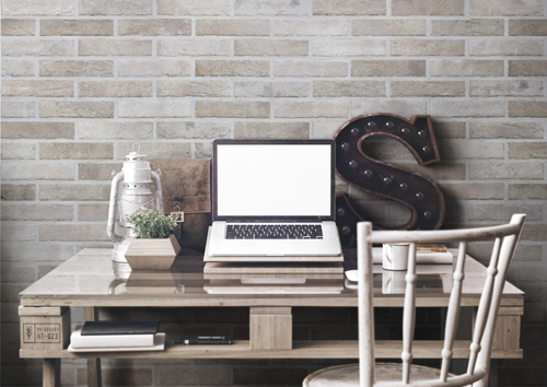 porcelain brick wall tile in home office