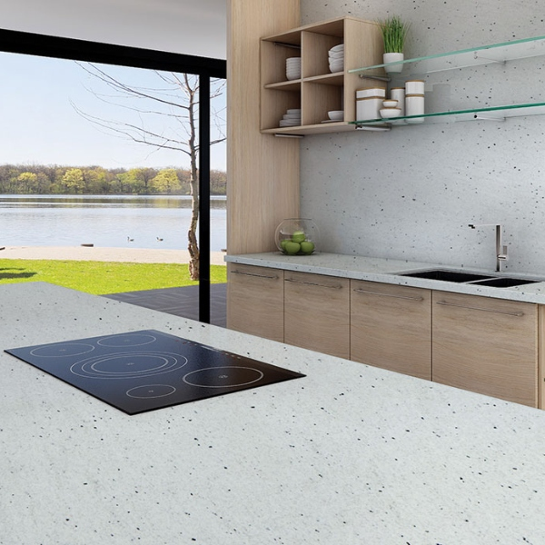 white speckled granite with bleached cabinet