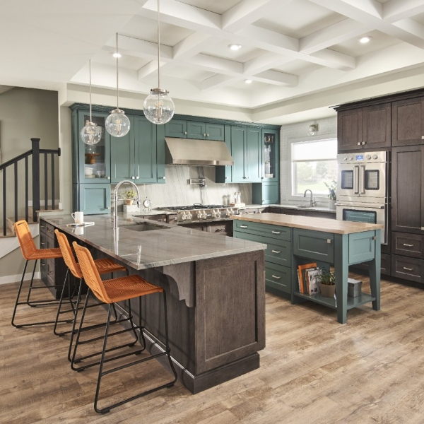 natural cafe and teal kitchen with luxury vinyl plank tile