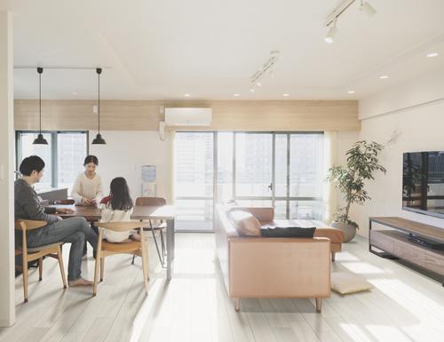 silver blonde luxury vinyl tile flooring in living room