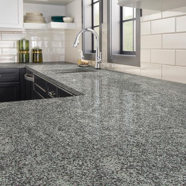 salt and pepper granite counter in classic kitchen