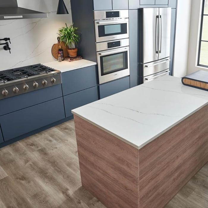 weathered cafe colored kitchen vinyl tile