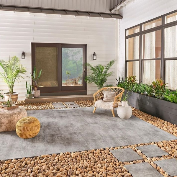 walkway and patio with pebble surround