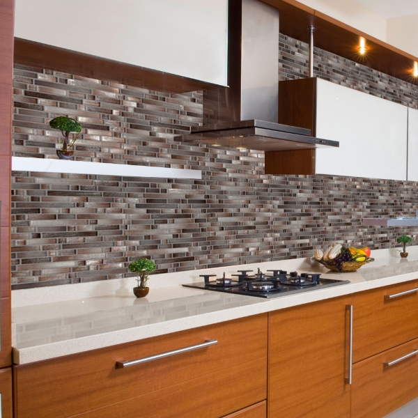 interlocking brown glass kitchen backsplash tile