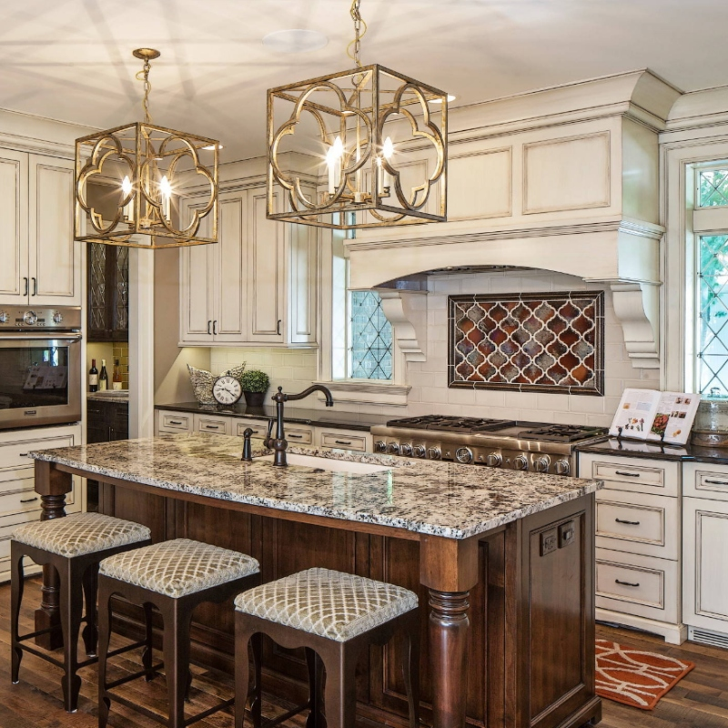 open concept kitchen with granite countertop and dark wood cabinetry