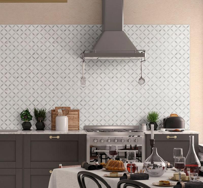 mosaic tile backsplash in bistro kitchen