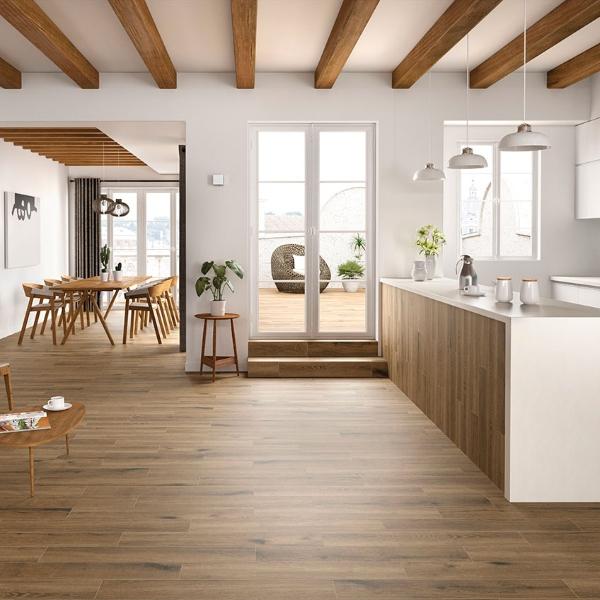 porcelain wood tile in natural light kitchen