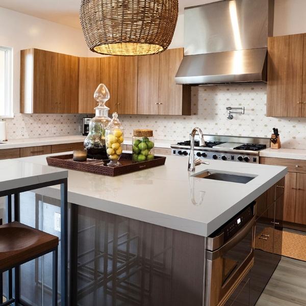 warm white quartz kitchen counter