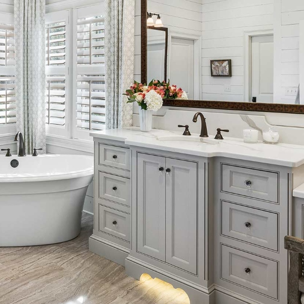 classic warm white quartz bathroom