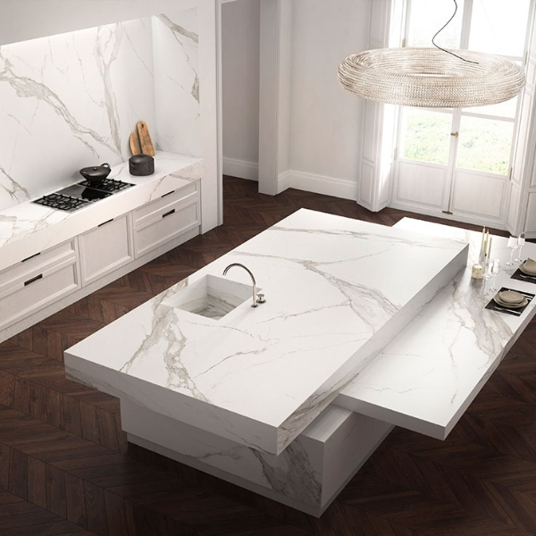 thin porcelain marble look kitchen countertop