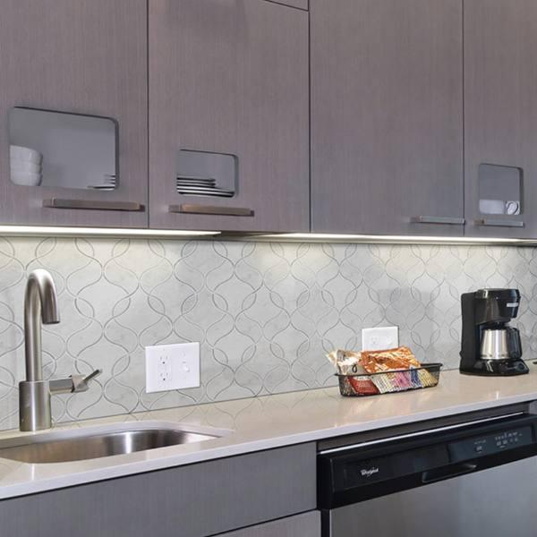 inkjet cut tile marble kitchen backsplash