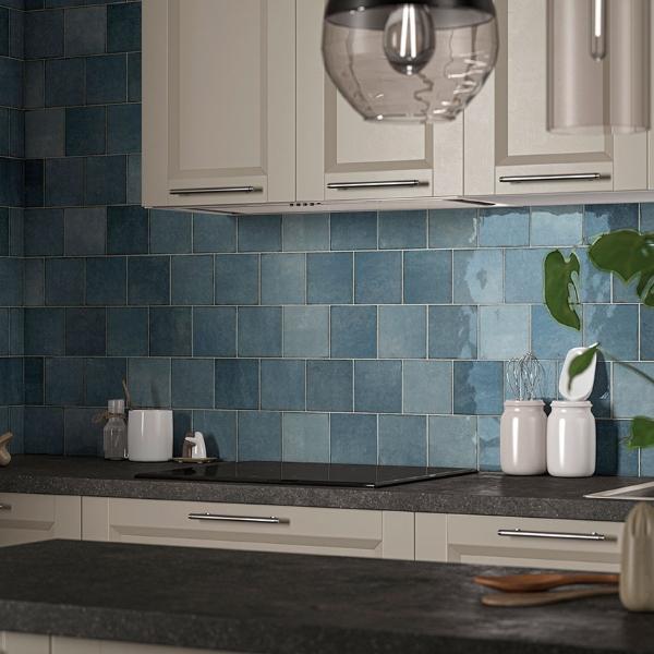 ceramic square backslash in multi tone blue color