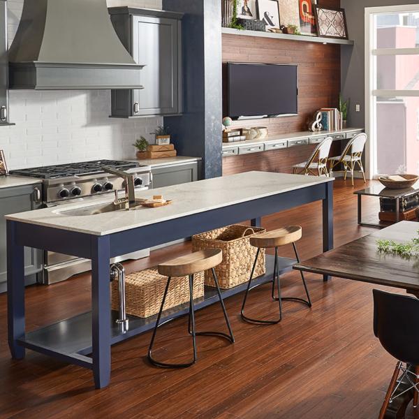 light gray quartz counter in open kitchen