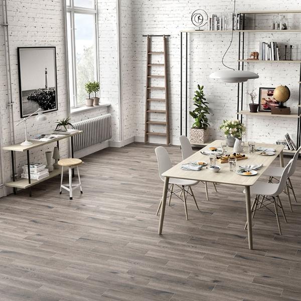 gray porcelain wood like tile in modern loft