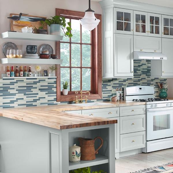 interlocking blue grey and white kitchen backsplash tile