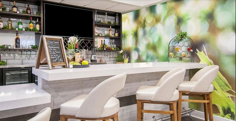 mosaic backsplash in hospitality setting