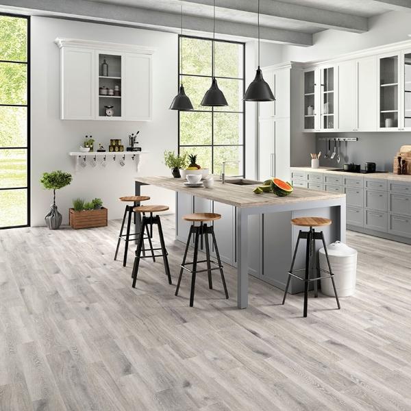 silver porcelain tile flooring in minimalist kitchen