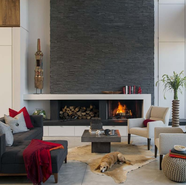 midnight stacked stone contemporary fireplace