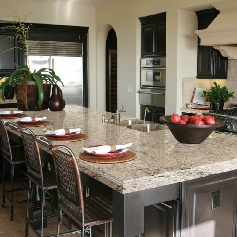 snowfall granite countertop kitchen island