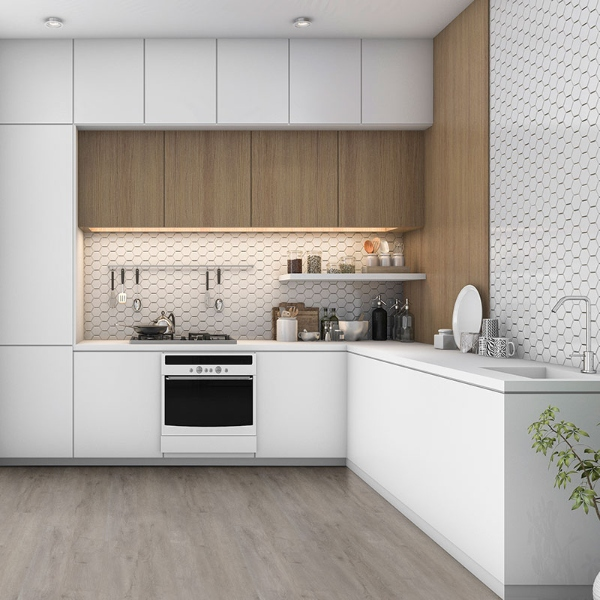 gray vinyl flooring in white kitchen