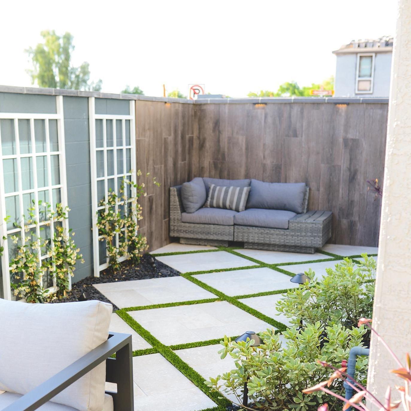 stone pebble garden covering in small patio
