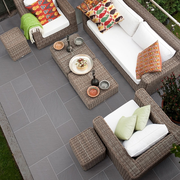porcelain pavers with slate look for outdoor entertaining