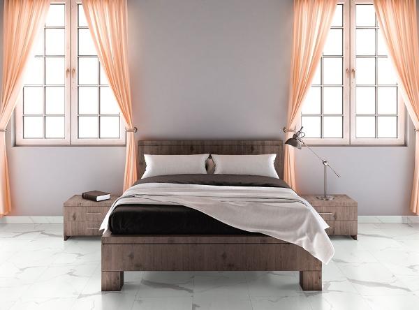 marble look vinyl flooring in bedroom