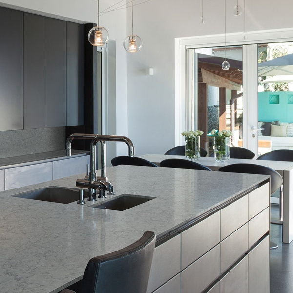 soft speckled grey quartz for contemporary kitchen