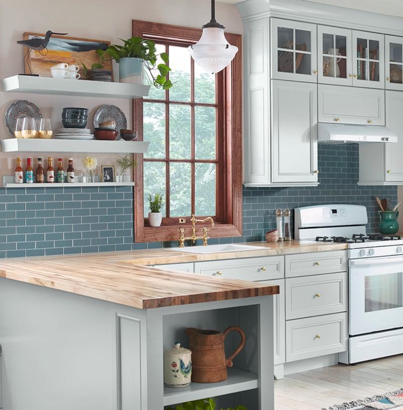 blue grey glass backsplash kitchen tile