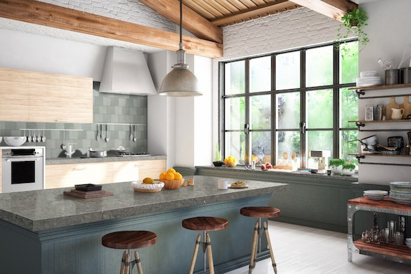 agatha black kitchen counter with lvt flooring