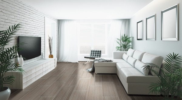 earth tone living room with wood look lvt tile