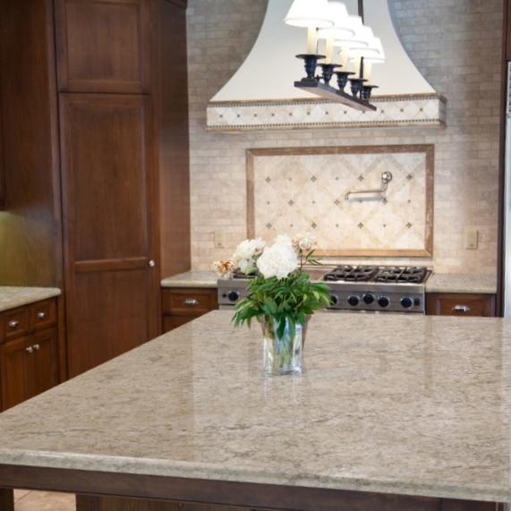 warm beige granite and kitchen countertop