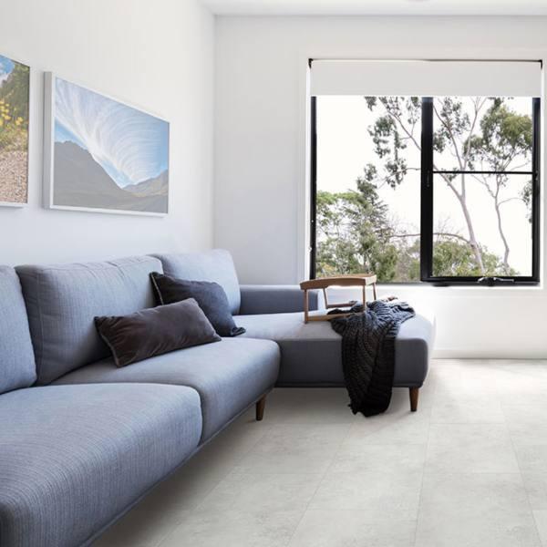 stone look vinyl tile flooring in minimalist living room