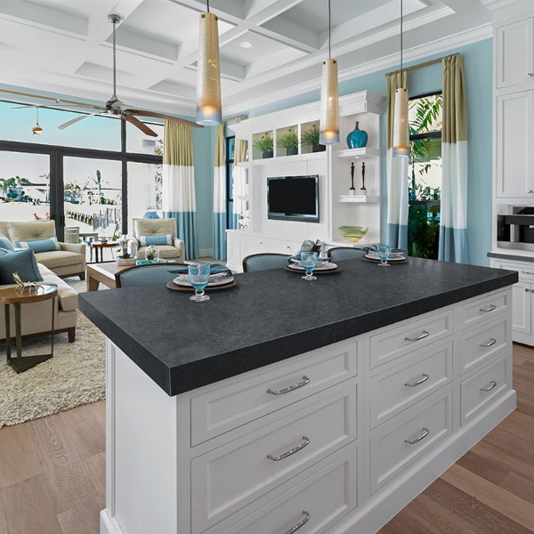 concrete look granite counter in seaside home