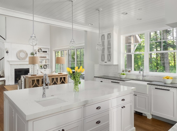 white granite traditional kitchen