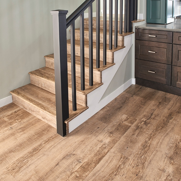 weathered and grained lvt flooring for stairscase
