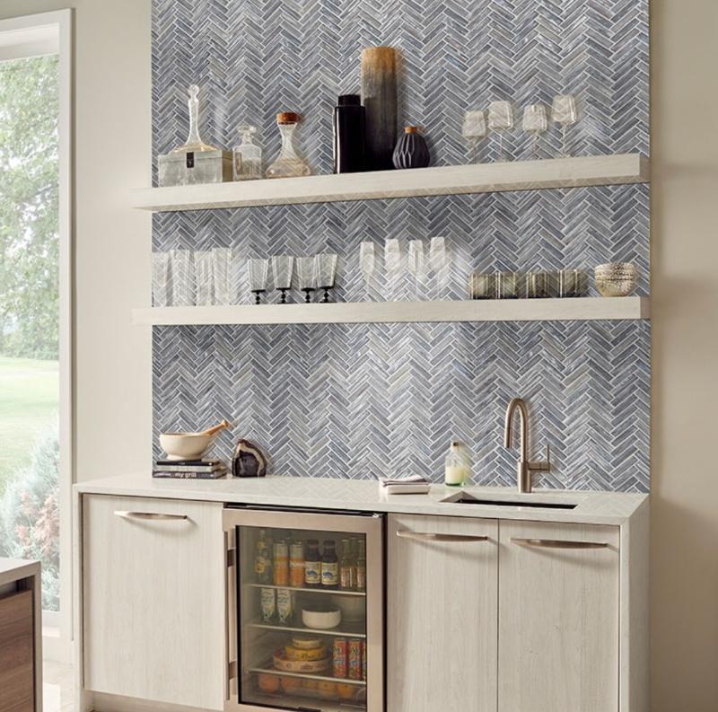 glass backsplash tile in the kitchen