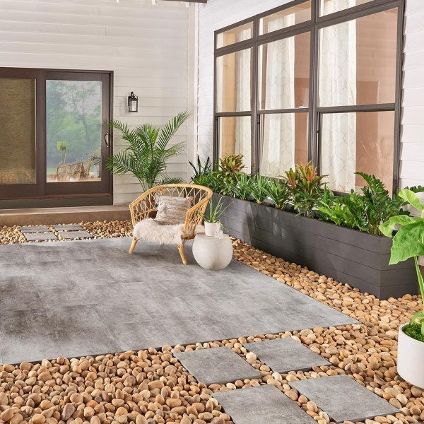 golden stone pebbles in intimate patio