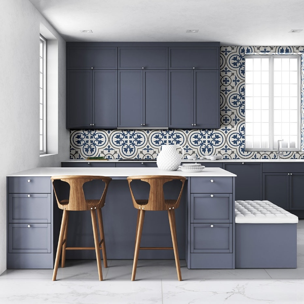 porcelain french blue floral geometric tile in kitchen